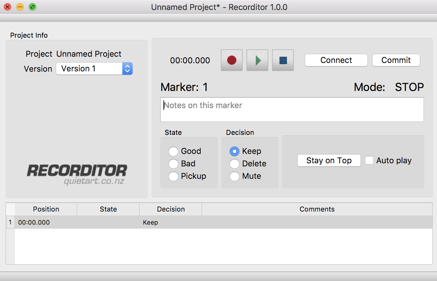 recorditor screenshot